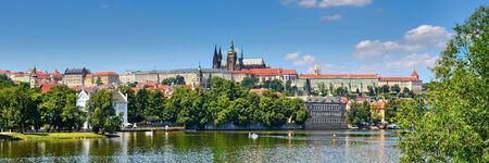 praha: view on the Prague ,Charles bridge ,Lesser Bridge Tower Stock Photo