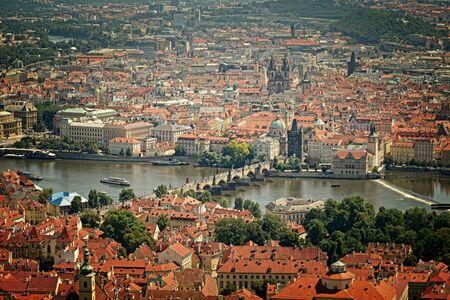st charles: birds-eye view on the Prague ,Charles Bridge on the Vitava river  Stock Photo