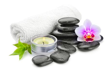 black stone: zen basalt stones and bamboo isolated on white