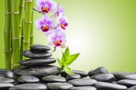 zen basalt stones and orchid photo
