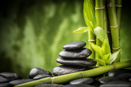 zen basalt stones and bamboo photo