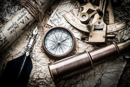 old parchment: vintage  still life with compass,sextant and old map Stock Photo