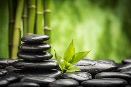 禅玄武岩石と竹 写真素材