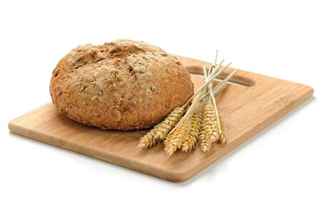 fresh bread  and wheat on white photo
