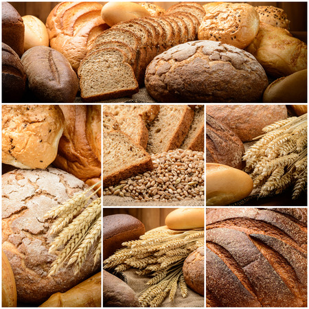 fresh bread  and wheat on the wooden photo