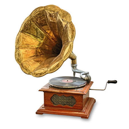 phonograph: retro old gramophone isolated on white