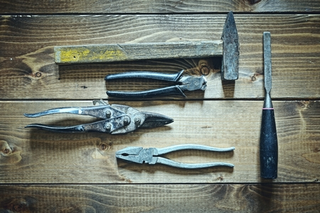 old tools: old tools on wooden background