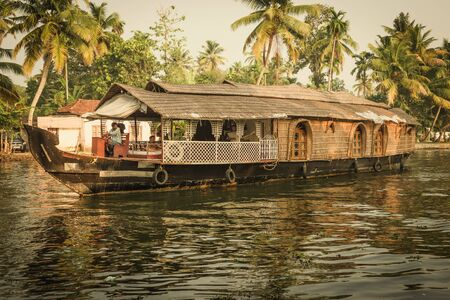 houseboat: Traditional Indian house boat .Kerala .Vintage tone Stock Photo
