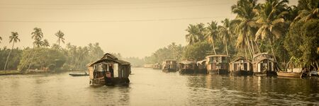 kerala culture: Traditional Indian house boat .Kerala .Vintage tone Stock Photo
