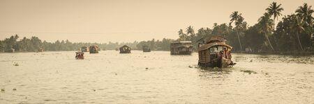 kerala: Traditional Indian house boat .Kerala .Vintage tone Stock Photo
