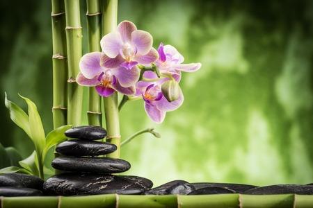 zen basalt stones ,orchid and bamboo Stock fotó - 39193958