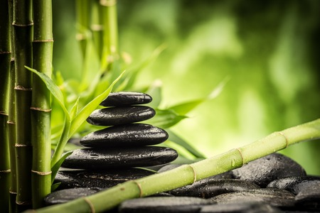 zen basalt stones and bamboo photo