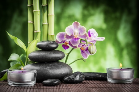 spa concept zen basalt stones ,orchid and candle Stock fotó - 39193993