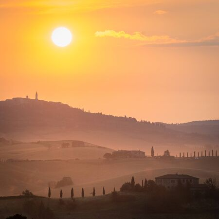 italy landscape: Beautiful summer landscape of Tuscany, Italy. Stock Photo
