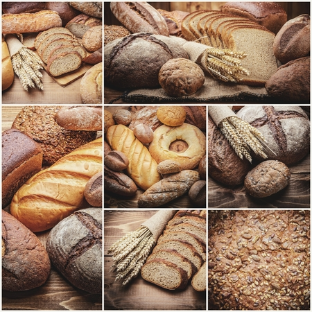 malted: fresh bread  and wheat on the wooden
