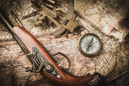 old tools: vintage  still life with compass,sextant and pistol Stock Photo