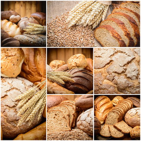 tranches de pain: du pain frais et du blé sur le bois