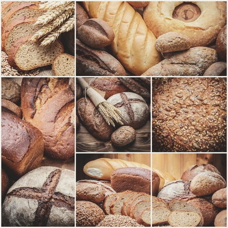 bakery: fresh bread  and wheat on the wooden