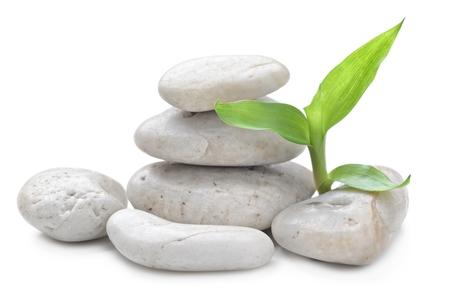 hilera: zen piedras de basalto y de bambú aislados en blanco
