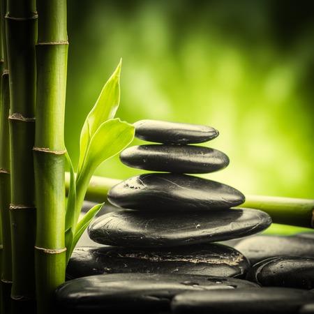 bamboo: zen basalt stones and bamboo