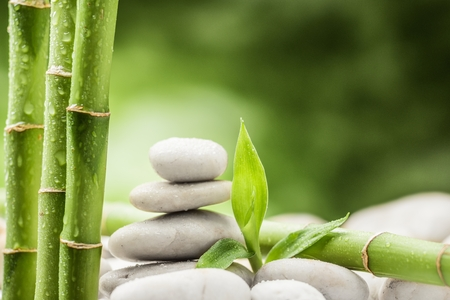 balanza: bambú y piedras de basalto de zen