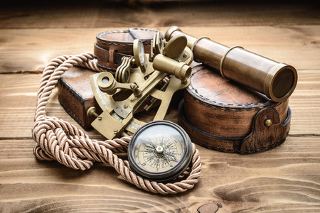 knots: vintage still life with compass,sextant and spyglass Stock Photo