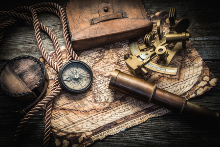 manuscript: vintage still life with compass,sextant and spyglass Stock Photo