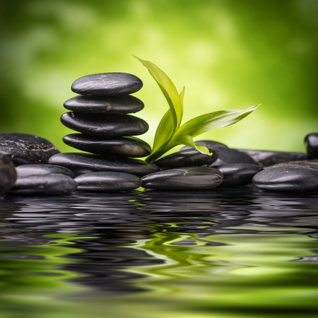 stone background: zen basalt stones and bamboo