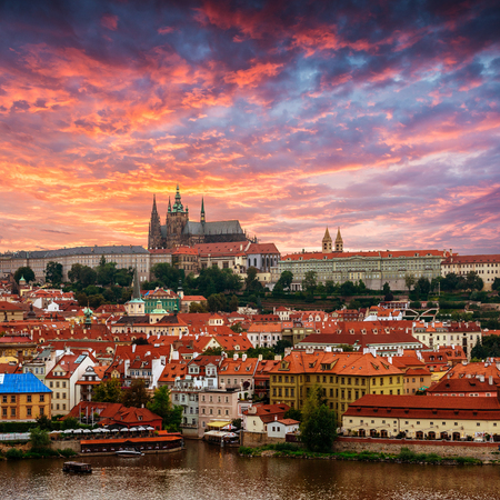 panoramic roof: View of old town and Prague castle with Vitava River, Czech Republic Editorial