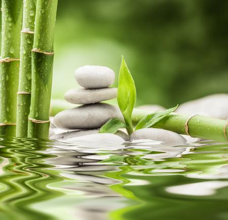 젠 현무암 돌과 대나무