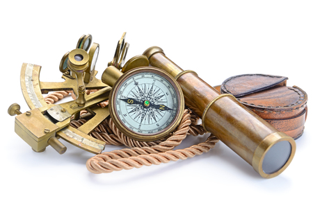 vintage still life with compass,sextant and spyglass 스톡 콘텐츠