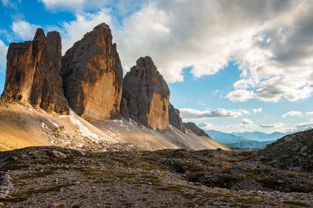 popular: famous Italian National Park Tre Cime di Lavaredo. Dolomites, South Tyrol. Auronzo Stock Photo