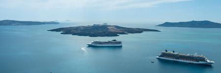 Luxury cruiser in Fira Bay Stock fotó