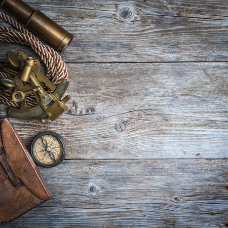 vintage still life with compass,sextant and spyglass Stock fotó