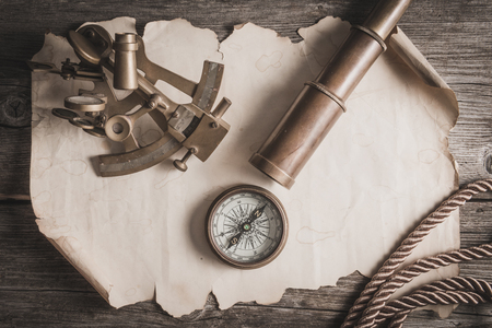 cooper: vintage still life with compass,sextant and spyglass Stock Photo
