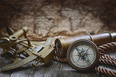 vintage still life with compass,sextant and spyglass Reklamní fotografie