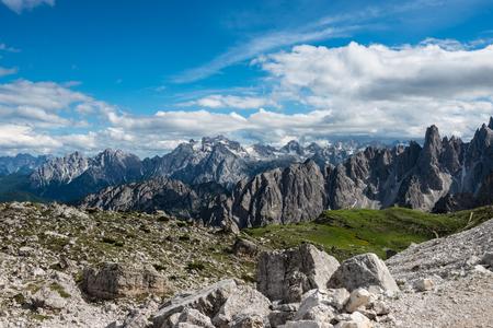 famous Italian National Park Tre Cime di Lavaredo. Dolomites, South Tyrol. Auronzo Stok Fotoğraf