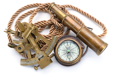 vintage still life with compass,sextant and spyglass Stock Photo
