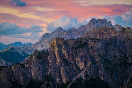 sunset at the Dolomites Alps.Italy Stock Photo