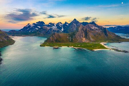 aerial view on the Flakstad and Skagsanden beach