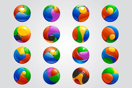 chrome balls logo elements Illustration