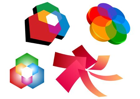 colorful flower logo elements Stock Vector - 9870963