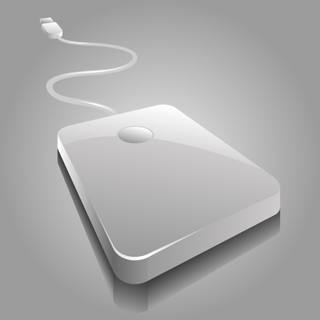 portable hard disk: iconic vector illustration of a white portable hard disc Illustration