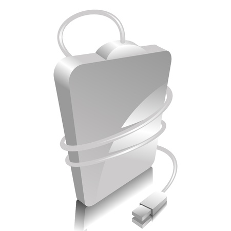portability: iconic vector illustration of a white portable hard disc Illustration