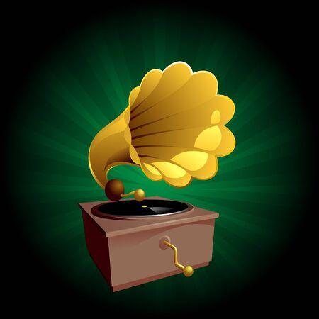 iconische afbeelding van een oude gammophone speler