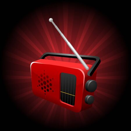 portable player: iconic illustration of a red shiny transistor radio set Illustration