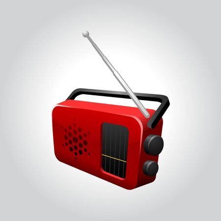 iconic illustration of a red shiny transistor radio set Stock Vector - 10121573