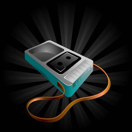 magnetofon: ikony ilustracja starej taśmy mono gracza rejestratora