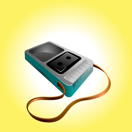 iconic illustration of a old mono tape recorder player Illustration