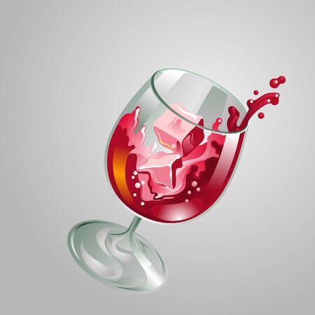 decorative wine glass with splash